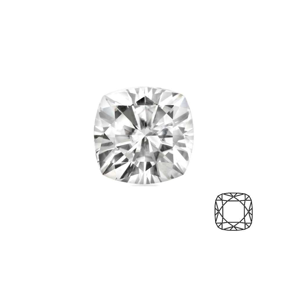 Cushion cut \\\'Forever Brilliant\\\' Moissanite - 81 facets
