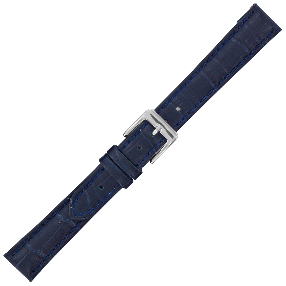 Navy cowhide watch strap with embossed crocodile finish, split leather lining and steel buckle
