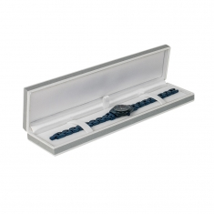 Plastic jewellery presentation box sheathed in grey paper with white edging