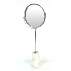 Round metal trim mirror on foot with white marble base 57cm
