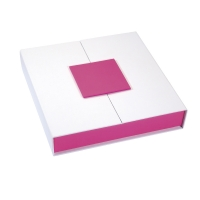 White card necklace presentation box with fuchsia magnetic seal and sides