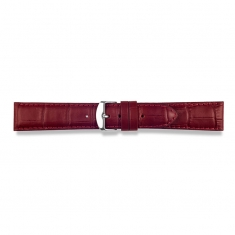 Bordeaux full grain alligator finish, pigmented cowhide leather padded watch strap, steel buckle