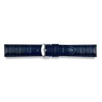 Navy blue alligator finish, full grain pigmented cowhide leather padded watch strap, steel buckle