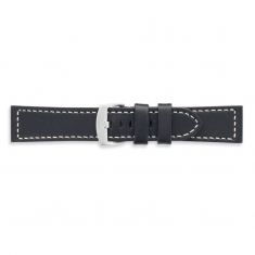 Premium quality black cowhide leather watch strap, contrast stitching, steel buckle