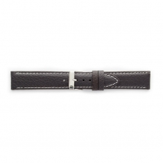 Premium quality dark brown cowhide leather watch strap, contrast stitching, steel buckle