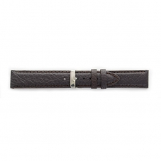 Premium quality dark brown cowhide leather watch strap, coordinated stitching, steel buckle