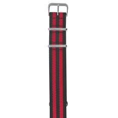 Striped NATO man-made watch strap, steel buckle