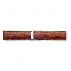 Tobacco full grain alligator finish, pigmented cowhide leather padded watch strap, steel buckle