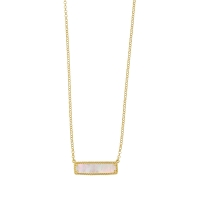 Collier rectangle perlé en nacre et argent 925/1000 doré