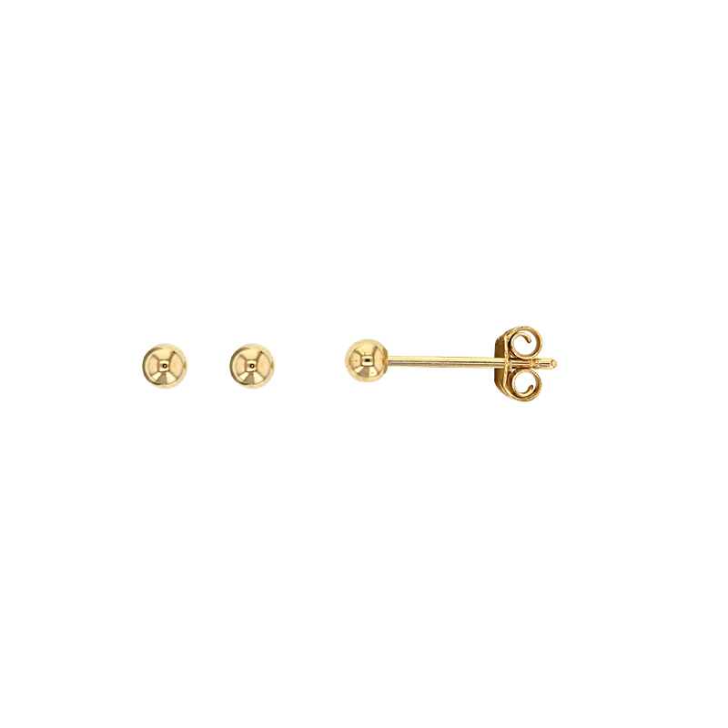 stud bead earrings gold collection image yellow ball