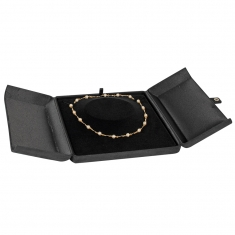 Black luxury man-made suedette finish jewellery presentation boxes with snap fastener