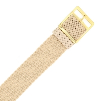 18mm wide beige woven nylon watch strap with gold-coloured buckle
