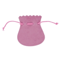Antique pink coloured man-made suedette pouches with coordinated cord drawstring