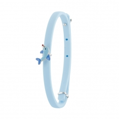 Blue silicon bracelet with sterling silver and enamel dolphin motif