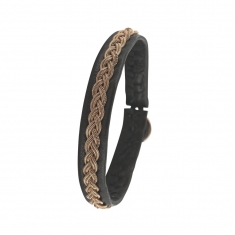 Cowhide bracelet set with braided steel cable decor