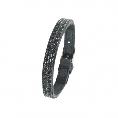 Cowhide bracelet with synthetic stones and steel buckle