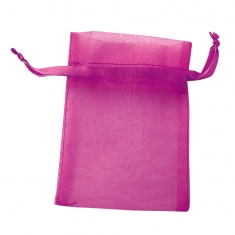 Fuchsia organdy veil pouches with matching drawstring (in packs of 10)