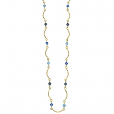 Gold plated fancy curved link necklace with blue coloured crystals