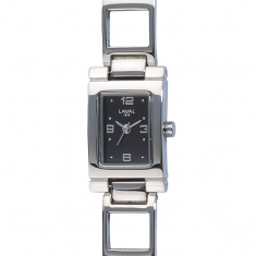 Ladies\\\' watch with black rectangular dial, steel open square link bracelet