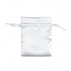 White satin finish pouches with matching drawstring (in packs of 10)