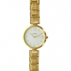 Lutetia watch with gold-coloured metal case and strap set with synthetic stones, white dial