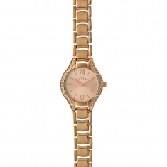 Lutetia watch with rose-gold coloured metal strap, dial and case set with synthetic stones