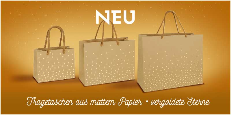Kraft paper carrier bags with gold-coloured star motifs, 200 g
