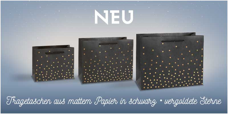Black kraft paper carrier bags with hot-foil printed star motifs 200 g