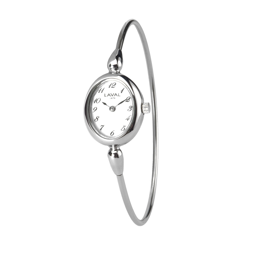 Montre pour femme à cadran ovale avec bracelet rigide en acier