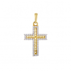 18ct gold crucifix edged with cubic zirconia with filigree centre