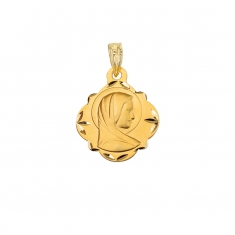 Diamond shaped 18ct gold Virgin Mary medallion