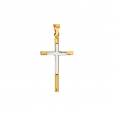 Slender 18ct gold crucifix with contrasting white gold detail
