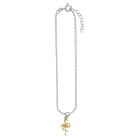 Sterling silver ankle chain with gold-coloured sterling silver flamingo charm