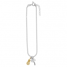 Sterling silver ankle chain with palm tree and gold-coloured sterling silver pineapple charms