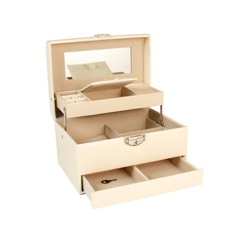 Off White Leatherette Large Jewellery, Swarovski Jewellery Box With Mirror