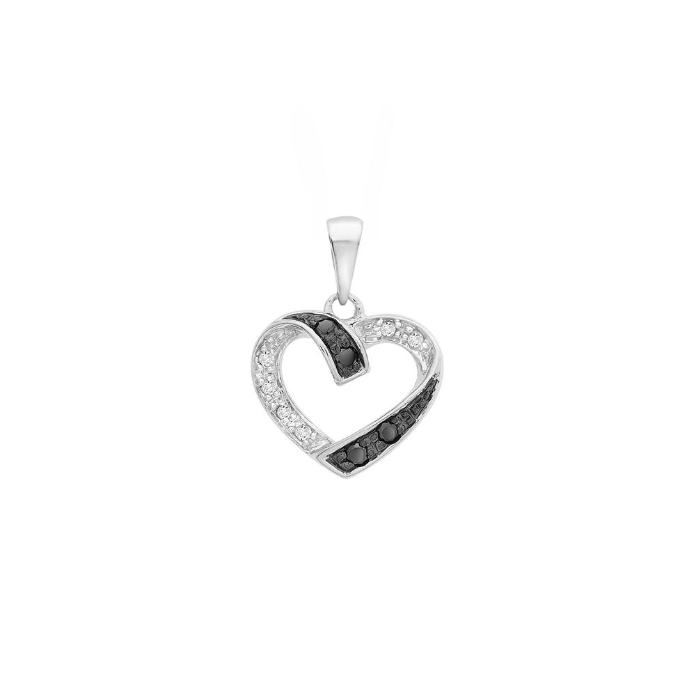 Bien connu Pendentif coeur, diamant noir et blanc 0,10 ct | Laval Europe GZ22