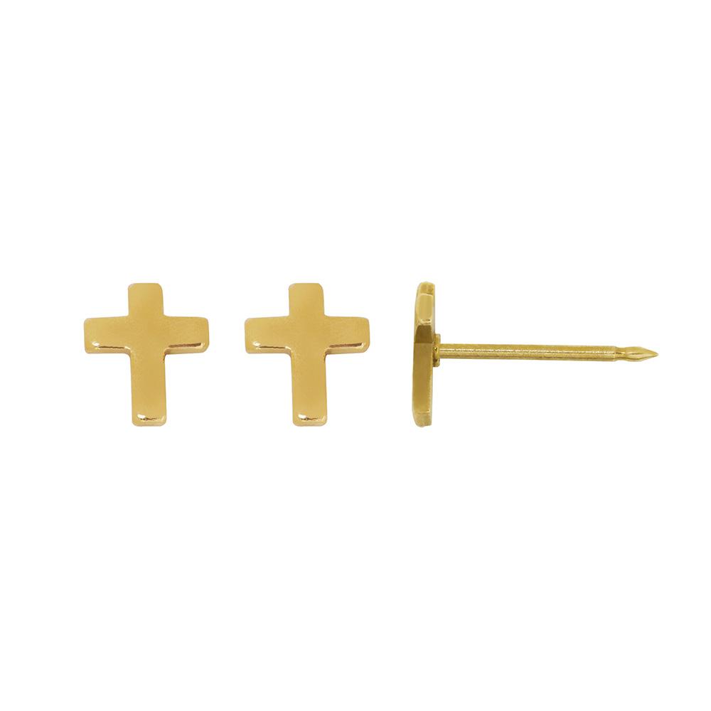 per age d 39 oreilles inverness fantaisie en forme de croix en acier dor l 39 or fin laval europe. Black Bedroom Furniture Sets. Home Design Ideas