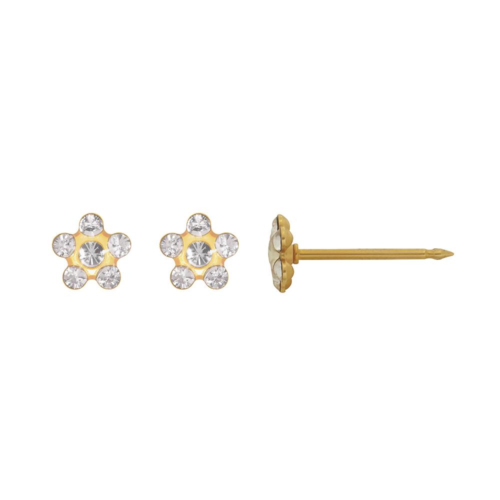 per age d 39 oreilles inverness fleur acier dor l 39 or fin orn de cristaux de swarovski blanc. Black Bedroom Furniture Sets. Home Design Ideas