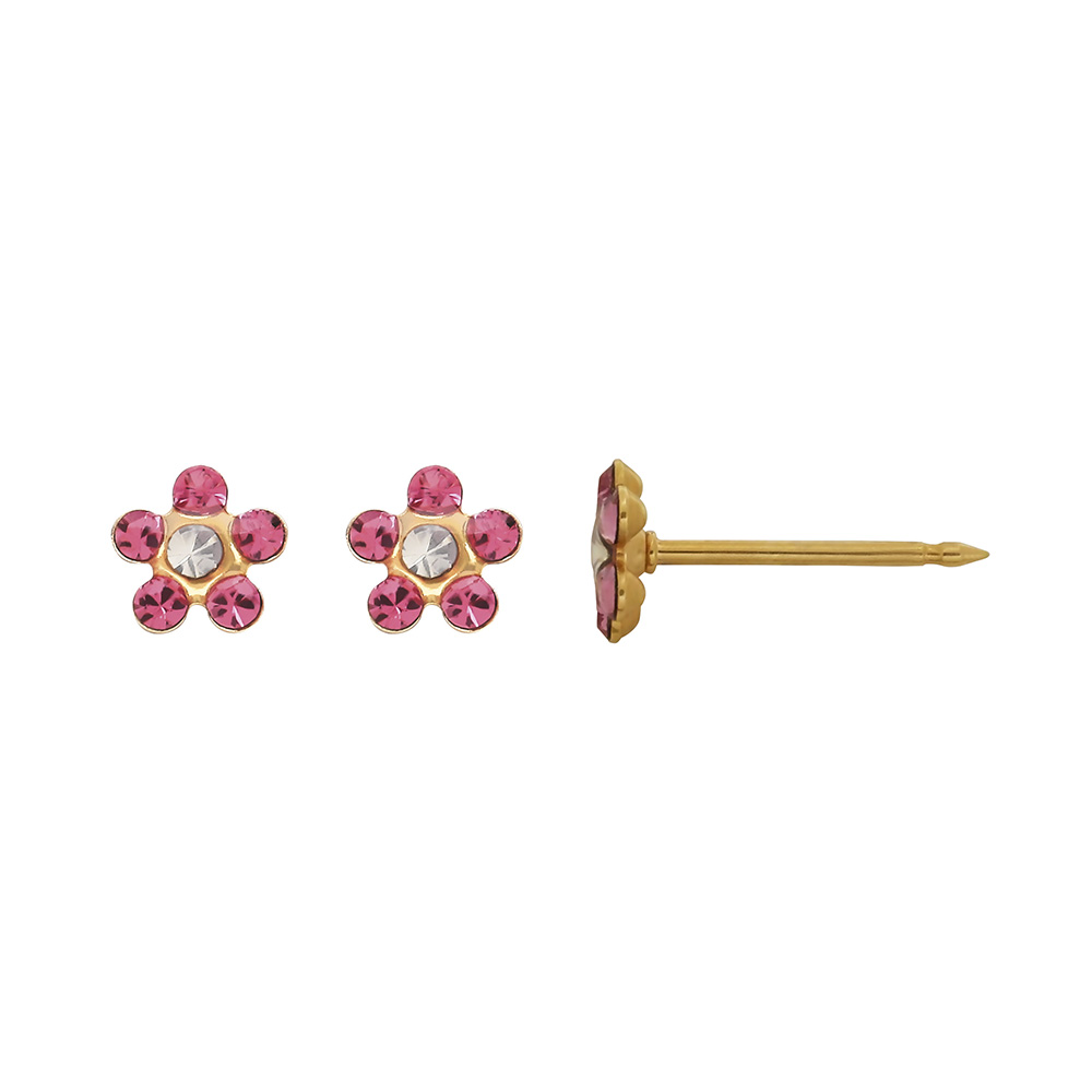 per age d 39 oreilles inverness fleur acier dor l 39 or fin orn de cristaux de swarovski rose. Black Bedroom Furniture Sets. Home Design Ideas