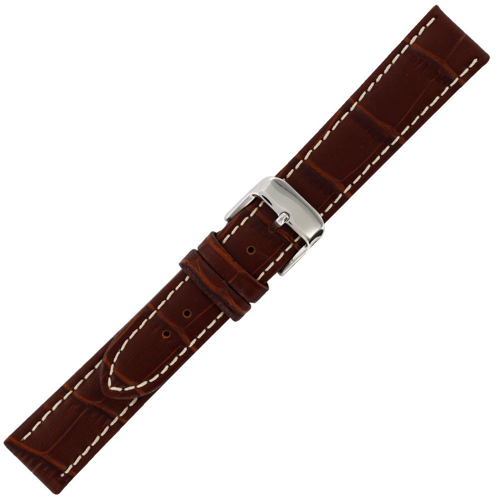 Bracelet croute cuir bovin marron 22mm fleur corrig e pigment e doublure cro - Cuir vachette fleur corrigee pigmentee ...