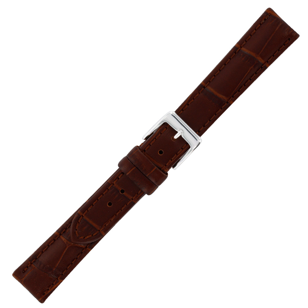 Bracelet cro te cuir bovin marron 16mm fleur corrig e pigment e doublure cro - Fleur corrigee pigmentee ...