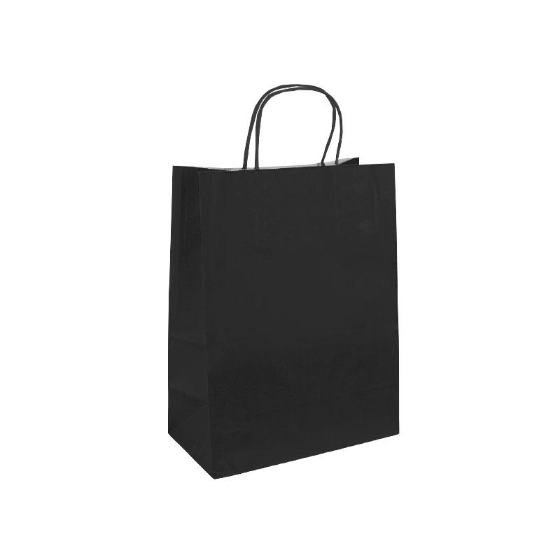 sacs papier kraft noir 35 14x40cm x50p poign es torsad es 100g. Black Bedroom Furniture Sets. Home Design Ideas