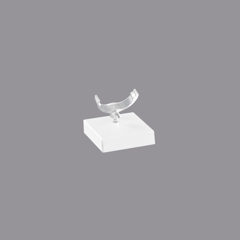 pr sentoir bague socle carr plexi blanc mat 3x3cm. Black Bedroom Furniture Sets. Home Design Ideas