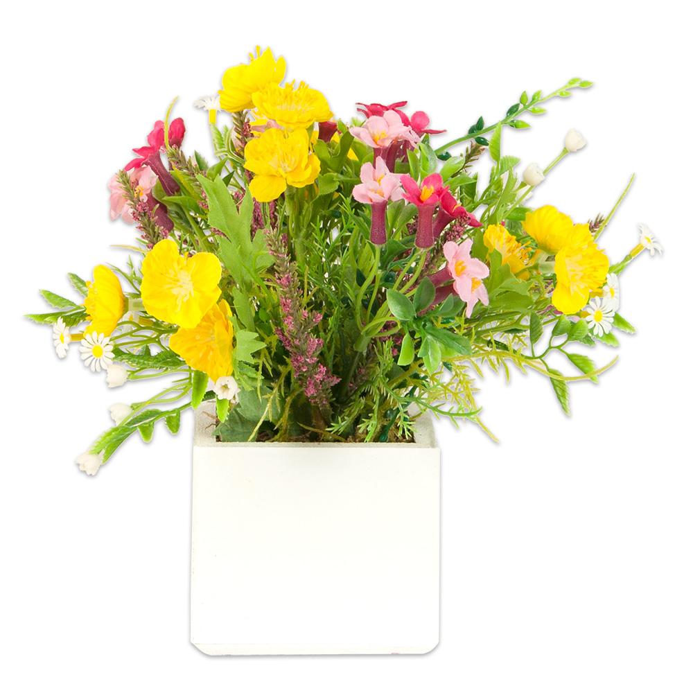 pot en bois de fleurs artificielles jaunes et roses laval europe. Black Bedroom Furniture Sets. Home Design Ideas
