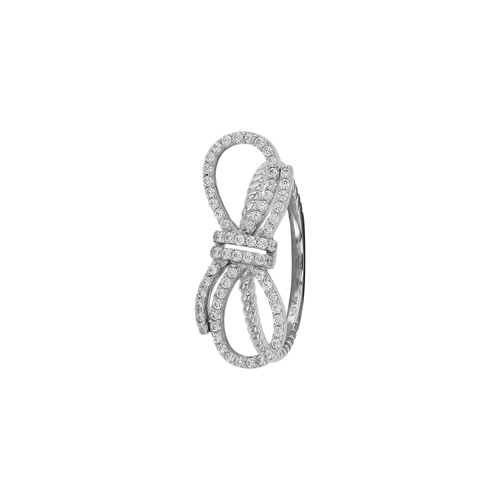 Black Micro Pave Set Cubic Zirconia Bow Ring Two Tone Rhodium Plated Sterling Silver