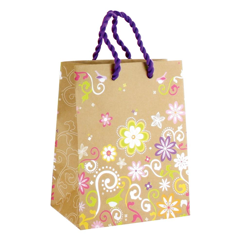 sacs kraft fleurs et arabesques dorure chaud poign es coton violet laval europe. Black Bedroom Furniture Sets. Home Design Ideas