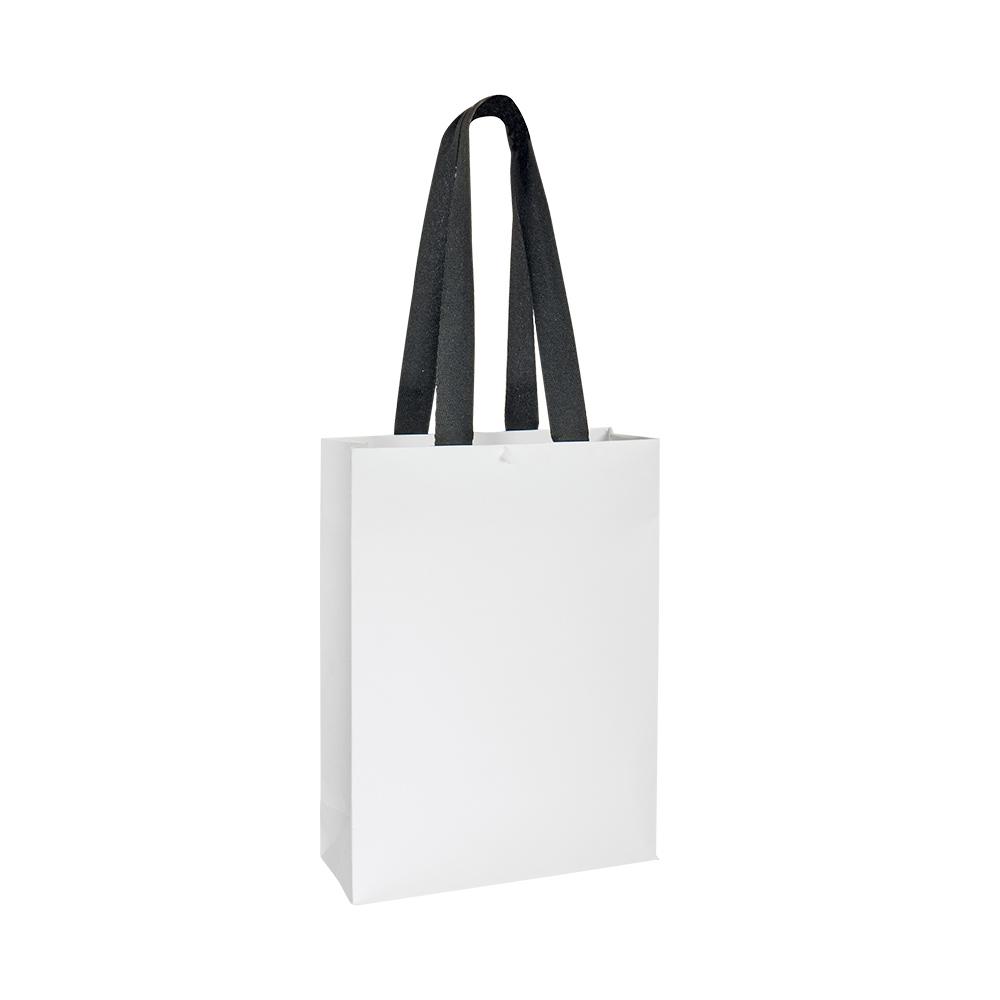 sacs papier blanc mat avec poign es rubans chevrons 160g laval europe. Black Bedroom Furniture Sets. Home Design Ideas