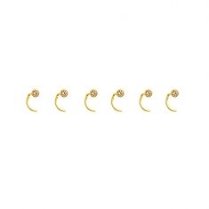 Set Of 6 Round 18ct Gold Nose Studs Laval Europe