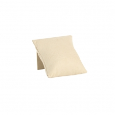 Cream coloured display pillow with stand in suedette finish fabric