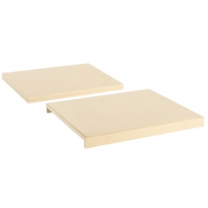 Set of 2 rectangular display trays in cream coloured suedette